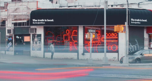 """Preview image of """"The Truth is Local"""" – New York Times shop window installations"""